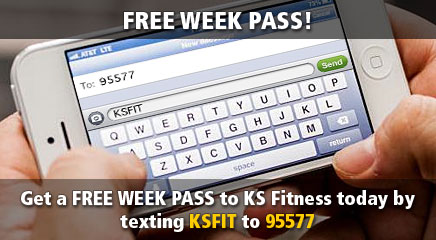 Get a FULL WEEK PASS at KS Fitness today by texting ksfit to 95577.